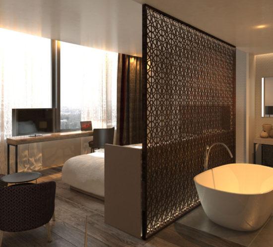 Interior Suite - Hotusa - Torre Sevilla Pelli. @GCA ARQUITECTES